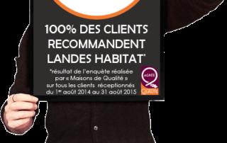 Aujourd'hui, 100% des clients Landes Habitat sont satisfaits de leur maison.